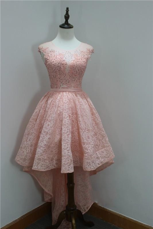 Hi-Lo Appliques Short Sleeveless Beads Lace Elegant Sexy Short Homecoming Dresses