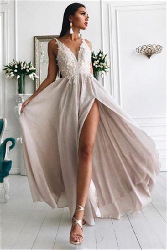 Sexy Slit V-neck Lace Chiffon Long Formal Dresses Cheap