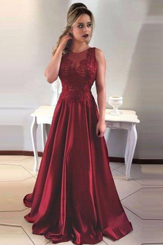 Vintage  Burgundy Evening Dresses | Scoop Sleeveless Lace Appliques prom Dresses