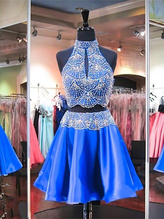 High Neck Sleeveless Beads Two Piece Mini Delicate Sexy Short Homecoming Dresses