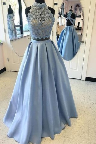 Two Piece Long Prom Dresses Cheap with Lace | Open Back Sleeveless Formal Dresses