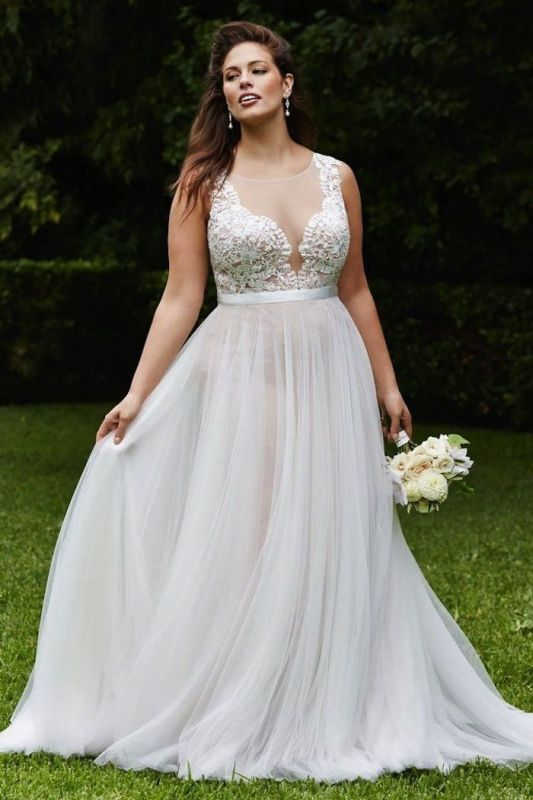 Sleeveless Sexy Court Train Lace Bridal Gowns | Sexy Tulle Scoop Wedding Dresses
