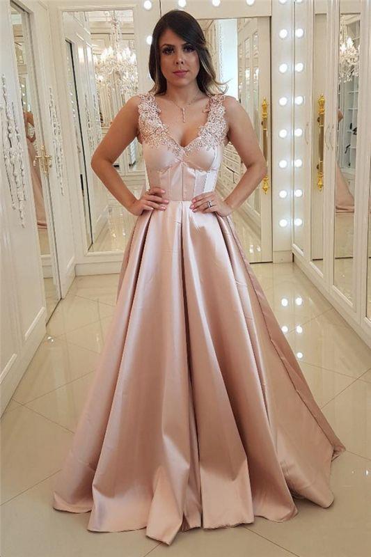 Unique Straps Appliques  Lace Sleeveless Prom Dress