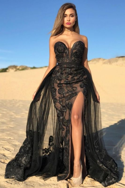 Sexy Black Sweetheart Prom Dresses Lace | Beaded Side Slit Overskirt Cheap Formal Dress Long