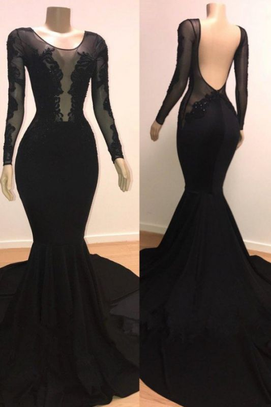 Unique Scoop Long Sleeves Backless Lace Appliques Tulle Sexy Mermaid Prom Dresses