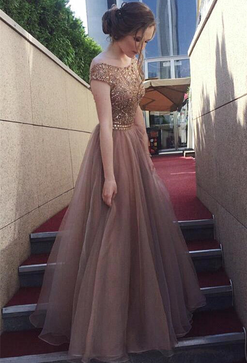 Chocolate Crystals  Tulle Sweep Train Prom Dress