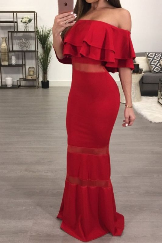 Sexy Red Off-the-shoulder Mermaid Evening Gown   Bodycon Evening Dress