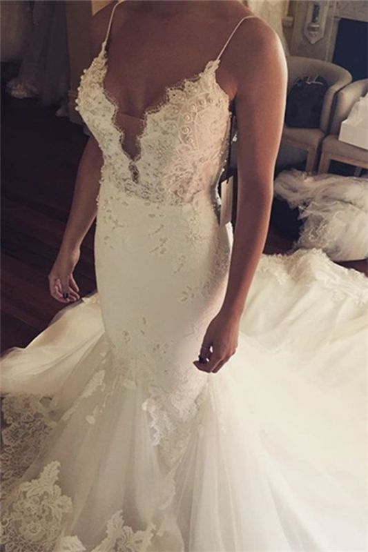 Tulle Sexy Spaghetti Straps Mermaid Elegant Lace Appliques Wedding Dress Cheap BA5042
