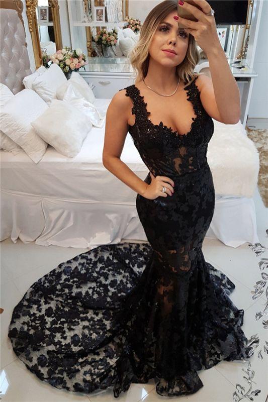 Glamorous Straps Sexy Mermaid Appliques Sweep Train Prom Dress