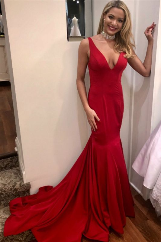 Simple Red Sexy Mermaid Evening Dresses | Sexy Open Back Long Prom Dresses