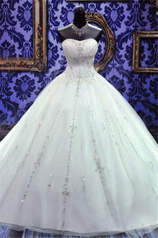 New Ball Gown Crystals Princess Wedding Dresses Sweetheart Neck -up Back Luxury Wedding Gowns