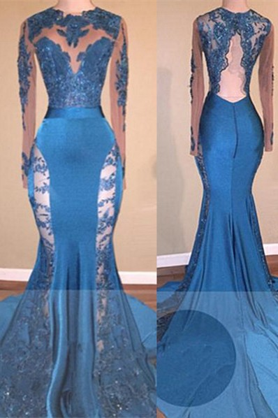 Lace Applqiues Long Prom Dresses Cheap Sleeves | Mermaid Stretch Satin Formal Dress with Court Train BA8261