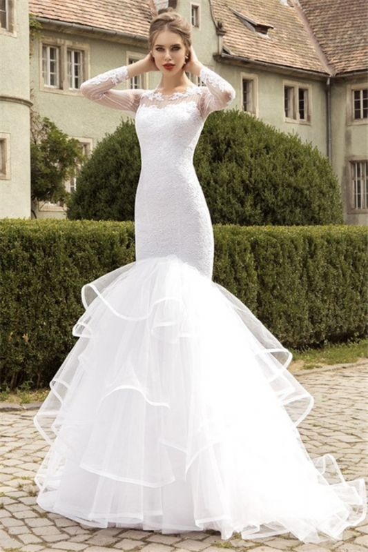 Sexy Organza Lace Appliques Wedding Dress Mermaid Long Sleeve Bridal Gowns