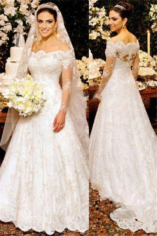 Beautiful Custom Made Button Long Sleeve Lace Wedding Dresses Cheap Online