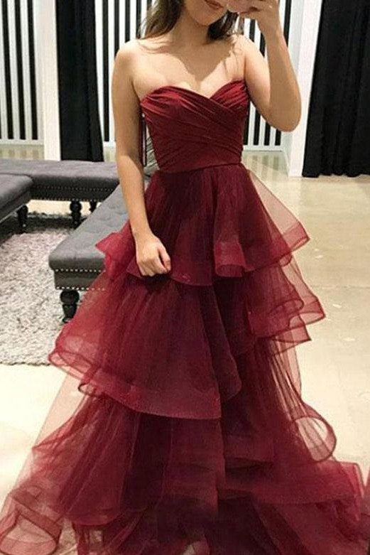 Stunning  Tiered Oganza Sweetheart Burgundy Long Prom Evening Dress
