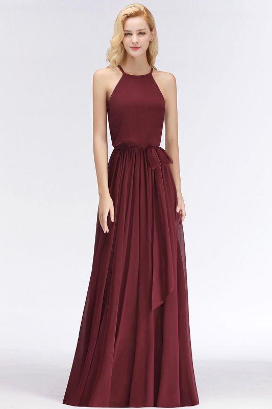 A-Line Chiffon Burgundy Simple Cheap Bridesmaid Dress