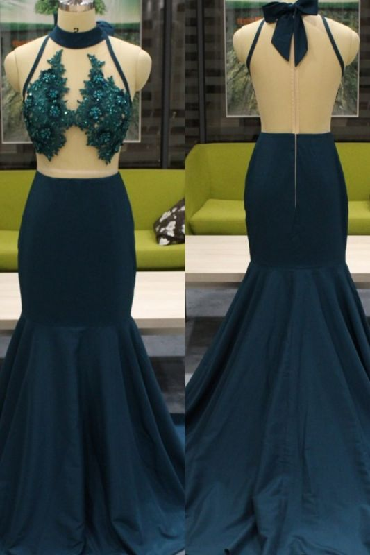 Beads Appliques Sexy Mermaid Prom Dresses Cheap | Sleeveless Sheer Back Cheap Evening Gowns with Bowknot