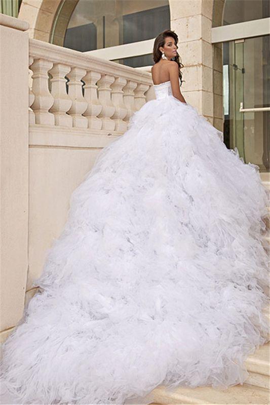 Tulle blanc chérie robes de mariée train chapelle robes de mariée sans manches