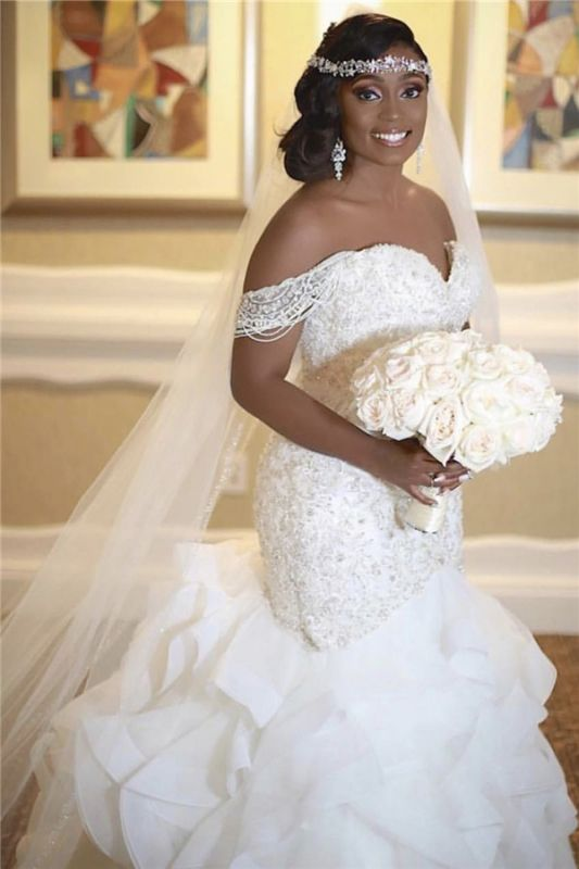 Elegant Off The Shoulder Lace Appliques Bridal Gowns | Sexy Sleeveless  Mermaid Lace Wedding Dresses
