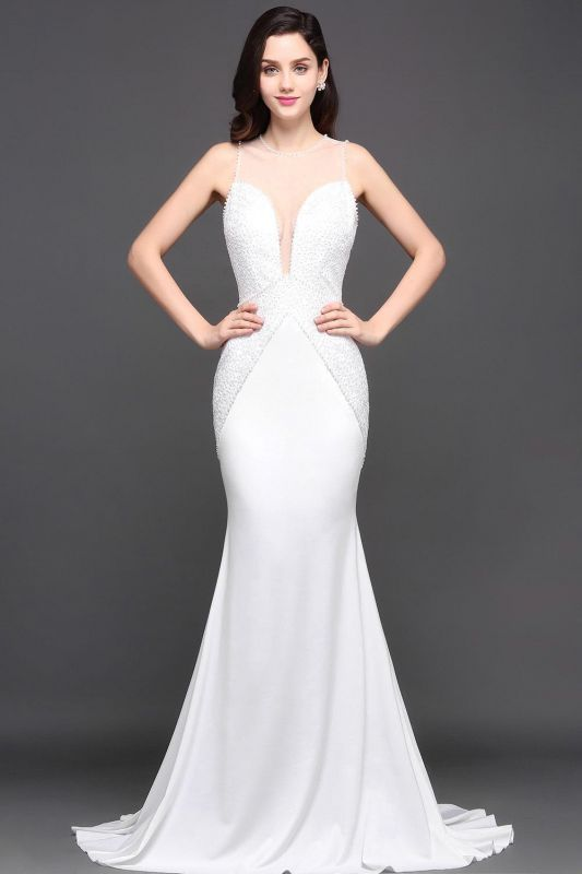 AVERY | Mermaid Scoop Chiffon White Evening Dress With Beadings