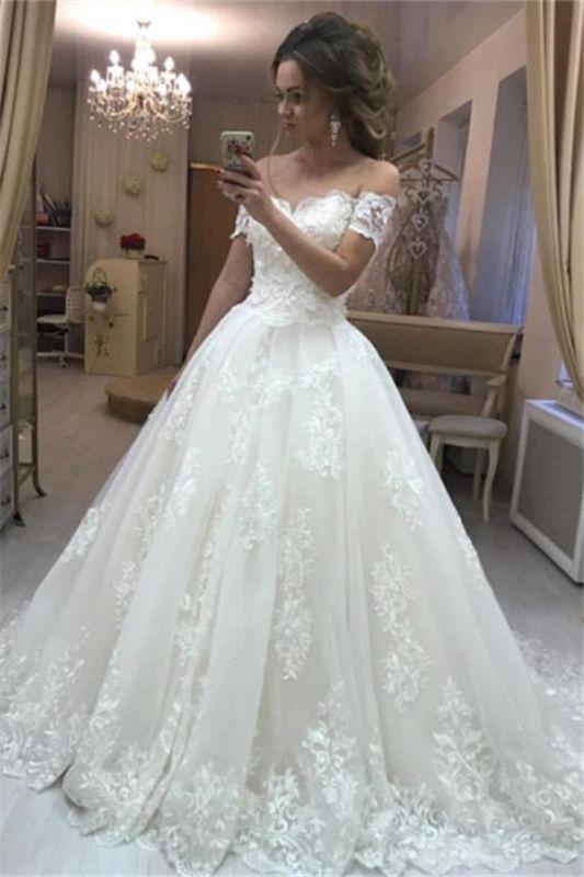 Schulterfrei Spitzen Brautkleider Online Billig | Cheap Sexy Brautkleid aus geschwollenem Tüll