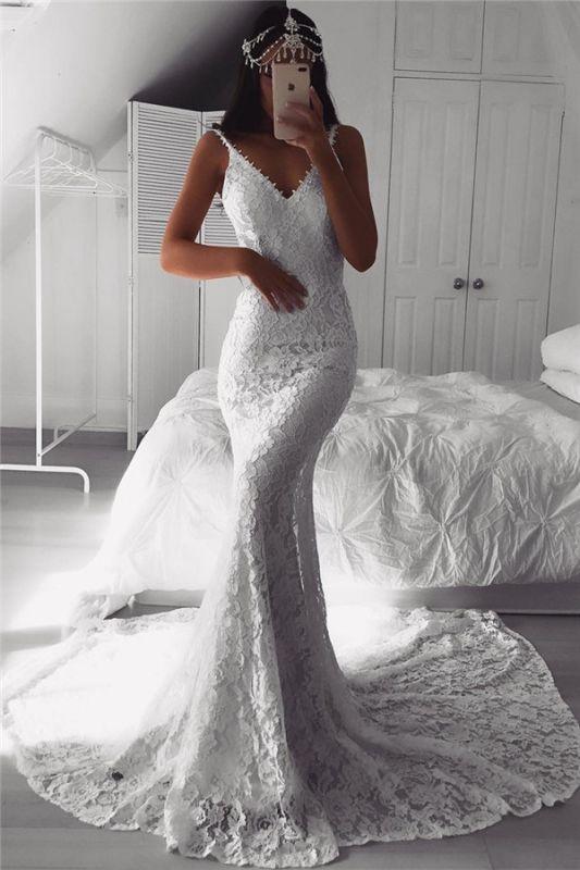 Modern Beautiful Lace V-neck Mermaid Wedding Dresses | Custom Made Online Cheap Bridal Gowns