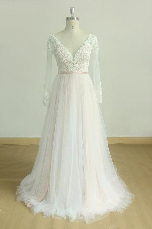 Elegante vestido de novia Aline de encaje de mangas largas blanco / marfil Vestido de novia largo hasta el suelo con cuello en V