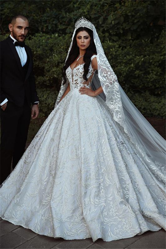 Elegant Lace Straps Wedding Dresses | 2019 Luxury Open Back Sleeveless Bridal Gowns