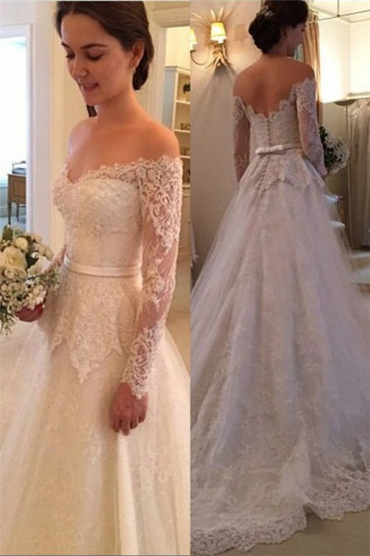 Court Train Long Sleeve Bridal Gowns Cheap | New Arrival Lace Off The Shoulder Wedding Dresses