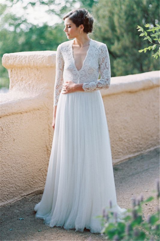 V-Neck Lace Long Sleeve Vintage Bridal Gown Latest Floor Length Custom Made Wedding Dress