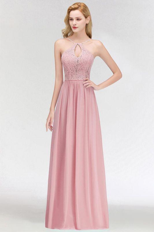 Keyhole Lace Chiffon Floor-Length Halter Long Bridesmaid Dress