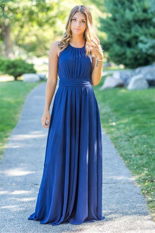 Ocean Blue Halter Chiffon Cheap Bridesmaid Dresses |  Open Back Floor-length Bridesmaid Dresses