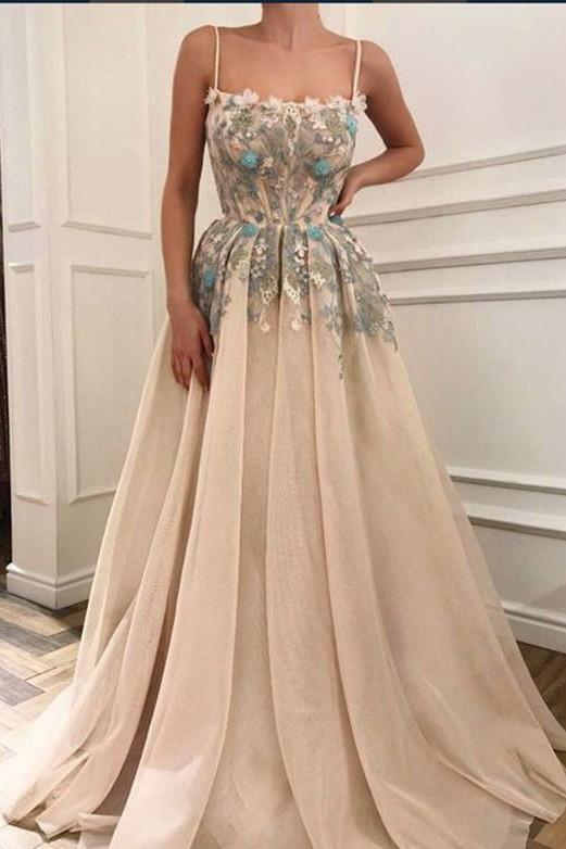 Glamorous Spaghetti Straps  Appliques Long Prom Evening Dress