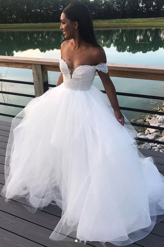 Charming Off The Shoulder A Line Wedding Dresses | White Tulle Lace V-Neck Bridal Gowns