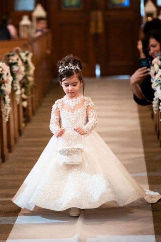 Lange Ärmel Prinzessin lange Spitze Blume Mädchen Kleider