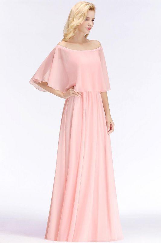 Off-the-Shoulder Pink Chiffon Cheap Bridesmaid Dresses