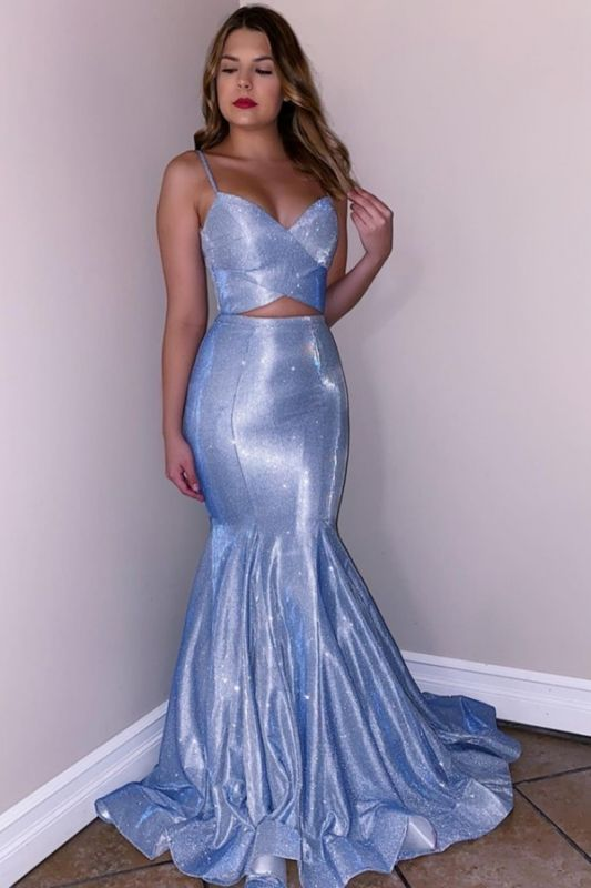 Spaghetti Straps Sparkling Blue Prom Dresses | Lace Up Mermaid Sleeveless Sexy Evening Gowns