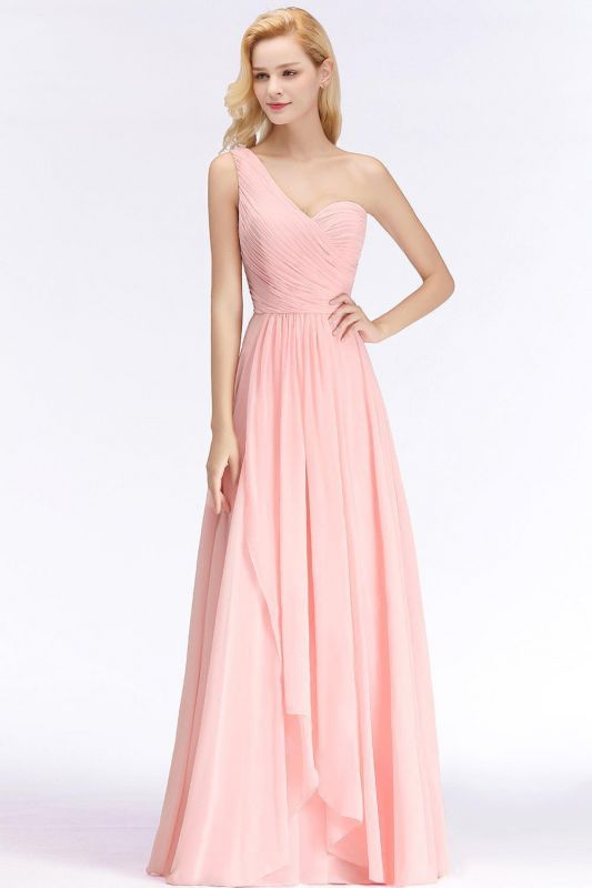 Pink One-Shoulder Modest Sleeveless Ruffled Zipper Floor-length Bridesmaid Dress