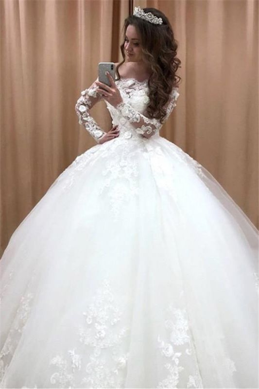 Glamorous Off Shoulder Long Sleeves Wedding Dresses | Lace Flowers Bridal Ball Gown 2019