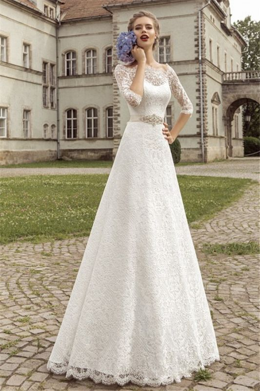 Royal Full Lace Bridal Gowns Half Sleeve A-line Wedding Dress with Crystal Sash VK036