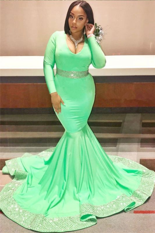 Long Sleeve Green Prom Dresses Plus Size    Sexy Mermaid Sparkling Appliques Evening Gowns JY0013
