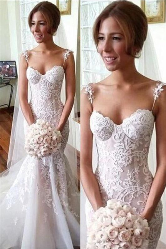 Applique Sleeveless Tulle Spaghetti-Strap Mermaid Long Wedding Dresses Cheap Online