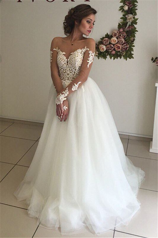Sexy A-line Long Sleeve Wedding Dresses | Cheap Lace Appliques Tulle Bridal Gowns