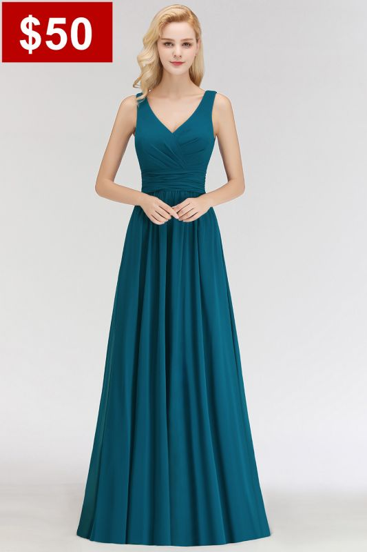 Sleeveless Chiffon Newest A-line Straps Floor-length Bridesmaid Dress
