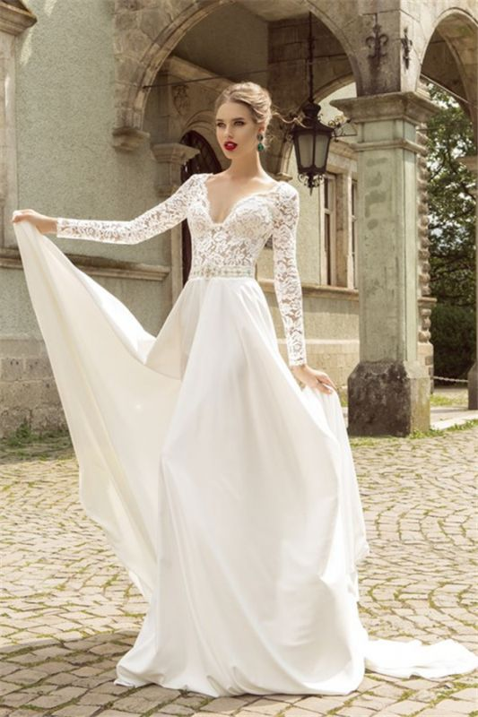 Noble Lace Long Sleeves Bridal Dress Deep V Neck Chiffon Vintage Wedding Dress