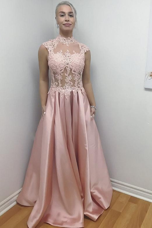 Unique High Neck  Sleeveless Appliques Floor-Length Evening Dress