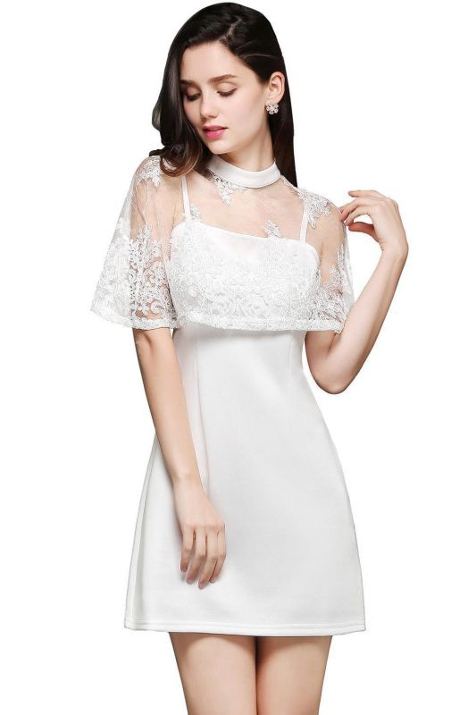 White Two-Piece High-Neck Cute Short Evening Dresses