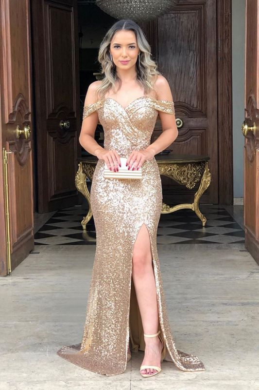 Off The Shoulder Sequins Evening Gowns Long | Sexy Side Slit Cheap Open Back Prom Dresses