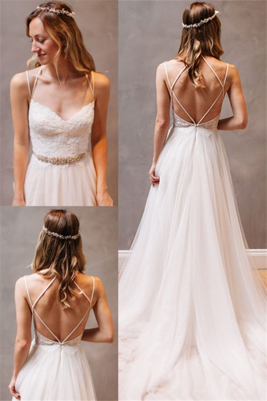 New Arrival Spaghetti Strap Summer Dresses A-Line Tulle Open Back Bridal Gowns