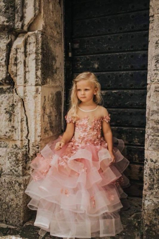 Schöne Juwel Kurzarm Tiered Tüll Blumenmädchen Kleider mit handgemachten Blumen   Long Sheer Little Girl Festzugskleid